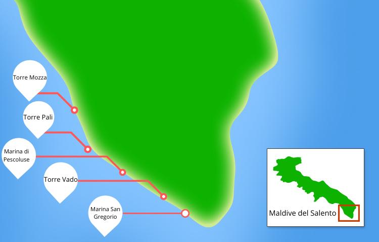 Cartina maldive del salento