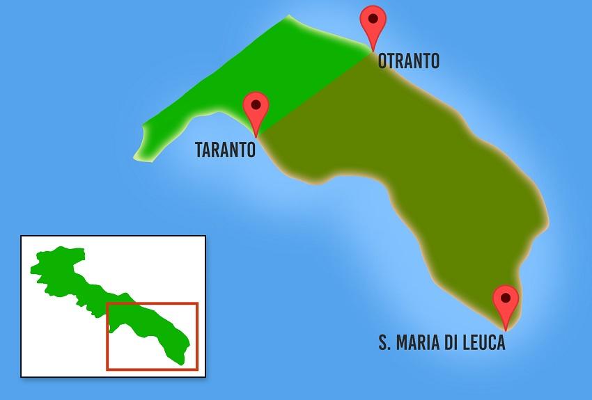 cartina del salento